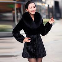 Outerwear 2013 long design mink overcoat female mink fight mink fur