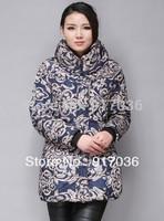 Quinquagenarian women's embroidery wadded jacket cotton-padded jacket medium-long mother clothing female