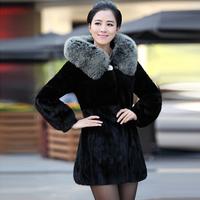 2013 women's marten fur coat overcoat mink fight mink fur