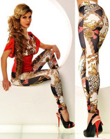 New 2014 Sexy Fashion EAST KNITTING Clubwear Colorful Chain Tattoo Seamless Pants Leggings For Women Drop Shipping Hot S102-126