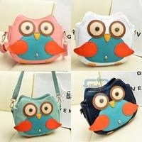 New Women Hit Color Shoulder Bag Cartoon Owl Pattern Messenger Bag Casual Bag