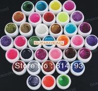 2014 free shipping wholesale 36 Colors Glitter shiny UV Nail Art Tips Gel