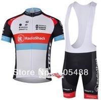 Free shipping+top Polyester+pad COOLMAX+2013 white radioshack Cycling Jersey+BIB SHORTS Bike Sets Clothes Cycling wear/bike wear