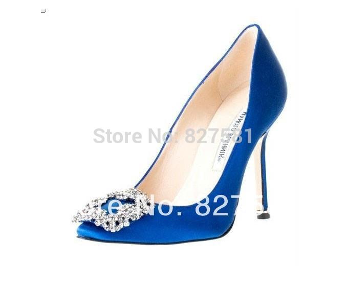 Version coréenne ~ petillant diamant boucle carrée bout pointu haute- en satin à talons chaussures à talons mb. visage mince