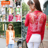 Ctrlstyle Fashion clothes women clothing Spring new 2014 slim cardigan women  butterfly lace gradient hook flower knit blouse