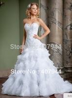 White Organza Lace Appliques Sweetheart Ball Gown vestido de noiva Detachable Skirt Beaded Designer Wedding Dresses Bridal Gown
