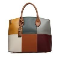 2015 Casual Trend women's oppo handbag big bag 9666-6 fashion color block handbag vintage messenger bag