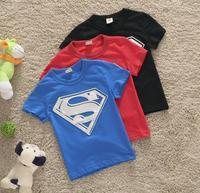 Free Shipping 2014 New Baby Boys Superman Short Sleeve Tshirt Children T-shirt Kids Summer Clothes