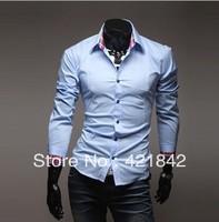 Fashion Men's Shirts Luxury Stylish Casual Slim Fit Dress Shirt Black, White, Light Blue Size L XL XXL Free Shipping