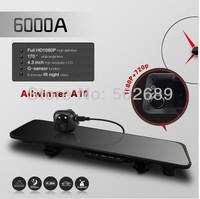 2014 arrival free ship 6000A  Rearview Mirror Car DVR HD 1920x1080p Rear view camera 720P H.264 Dual Cameras wtih G-sensor