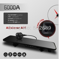 2014 arrival free ship 6000A  Rearview Mirror Car DVR HD 1920x1080p Rear view camera 720P H.264 Dual Cameras wtih G-sensor