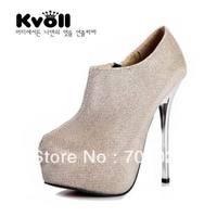 Kvoll plus size lace side zipper platform ultra high heels boots gold black