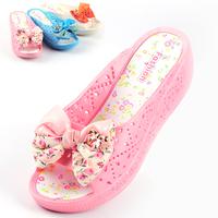 2013 bow flower wedges slippers high-heeled waterproof female sweet cutout sandals