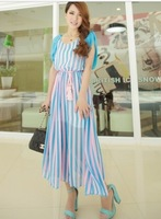 12 chiffon one-piece dress long bohemia design slim stripe full dress belt
