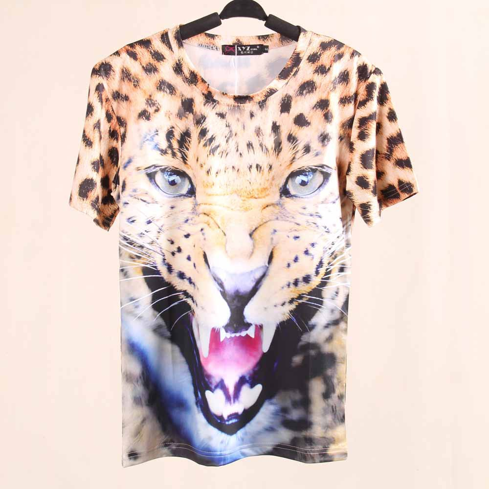 New 2014 Spring Women T-shirts Plus Size Fashion 3D Print Animal Short Sleeve T Shirt For Girls Summer Harajuku Tiger Tee(China (Mainland))