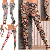 New 2014 Women Leggings Print  Fitness Woman Leggings For Women Fashion Small Floral Print Leggings Footless Leggings New Brand