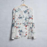 Lady New Fashion Long Sleeve Pocket  Blouse O-Neck Shirt  Made by Chiffon  J97
