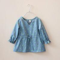 2014 spring girls clothing child fashion print elk cotton cloth denim shirt dress doll dress C0025