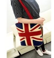 2014  Free shipping+hot sale fashion Uk  flag printed canvas bag shoulder bag British style leisure bag handbag