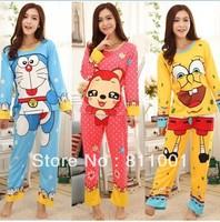 Hot Selling 2014 New  Cartoon Sleepwear  Autumn  Cotton   Women Pajamas  Sets For  Women  Sleepwear Lounge Set