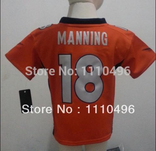 Free shipping toddler Stitched Wholesale Denver 18 Peyton Manning orange Size 2T-5T American Football Jerseys(China (Mainland))