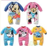 3 PCS / lot Wholesale New 2014 baby wear boy girl rompers ,newborn infant Mickey Minnie romper, baby jumpsuit, unisex brand