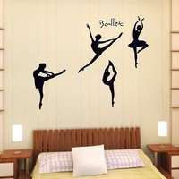 Three generations ballet girl wall stickers ay9061