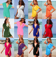 2014 19 - color sexy deep v-neck beach dress - dress free shipping756