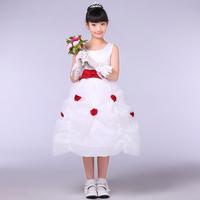 Children's clothing child short-sleeve dress female child princess dress puff skirt tulle dress flower girl dress