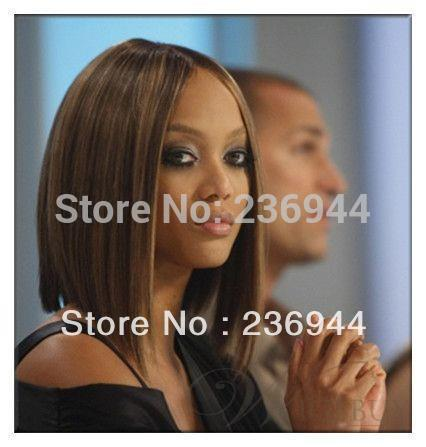 Sweet Carefree Pretty Cute Tyra Banks Short Straight Brown 100% Brazilian Remy Hair Lace Front Wig about 12 Inches(China (Mainland))