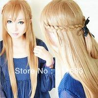 Sword Art Online Asuna Yuuki Braided 80cm Long Pale Gold Brown Cosplay Wig