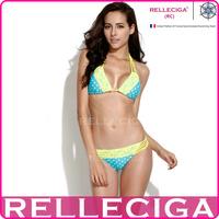 RELLECIGA 2014 New Blue Polka Dot + Yellow Lace Triangle Bikini Set Swimwear with a Trio of Halter Straps Women Swimsuit