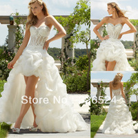 2014 romantic high lower sweetheart lace applique ruffler satin bridal gown  ML6752