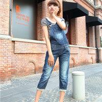 2014 Hot Summer Women Jumpsuit Rompers Jeans Knee Length Shorts Cotton Loose Overalls Salopette Fashion Plus Size XL Wholesale