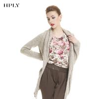 Hply women's irregular sweep thickening medium-long wool cardigan