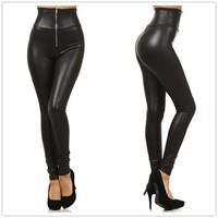 Lengthen 9600zimu plus size high waist faux leather zipper slim boot cut jeans leggings with zipper