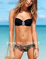 2014 New Women's Fashion Women Push Up Swimwear Sexy Swimsuit Bandeau Top and Brazilian Bottom Black Bikini Set freeshipping