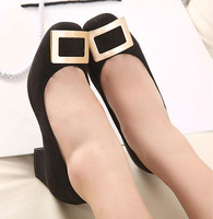 Free shipping 2014new arrival brand new flock lady design middle heel Slip-on fashion button women shoes