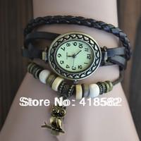 B004--2014 New Hot Bronze Owl pendant bracelet watches Ladies Quartz Watches Leather strap free shipping
