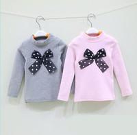new autumn 2014 children girl gray pink cotton turtleneck cute t-shirts kid fashion cute polka dot bow brief base t shirt lot