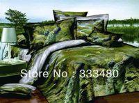Distress Merchandise! 100% Cotton peacock print 4pcs 3d bedding sets