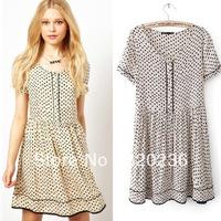 Free shipping !  2014 Girls Spring Summer Fashion Dot Pattern Casual Dress ladies fashion dress evening dress