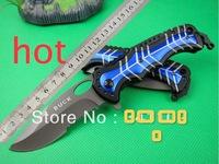 Buck DA41 Hunting Fast Open Knife Folding Camping Knives 440C Plating Titanium Blad
