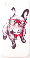 Bulldog with Red Glasses Pet Funs Phone Case Cover For iPhone 5 iPhone 5S