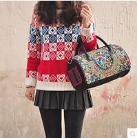 National trend embroidered handbag bag shoulder bag messenger bag dual-use women's package bag