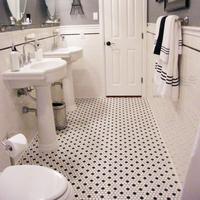 Balcony mosaic black and white small hexagonal tiles tile  home decor