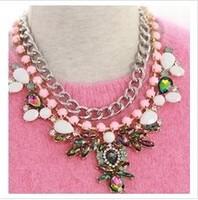 Free shipping 2014 Korean Style  Fashion Rhinestone Pendant Necklace Women Jewelry Vintage Crystal Necklace Wedding Party