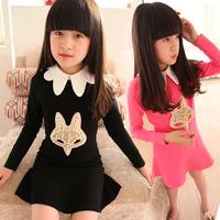 Girls 2014 Spring New Arrival Korean Style Children's Clothing Sweet Ruffle Dress Big Child Princess Dress Long Sleeve Dress