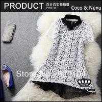 2014 fashion European brand new water soluble luxury embroidered lace diamond elegant short-sleeve shirt top Blouses T654