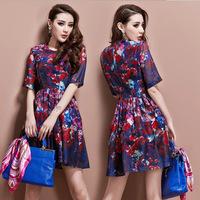 Spring New 2014 Cute Floral Dresses Elegant Half Sleeve Print Slim Waist Dress Women Runway Design Summer Vintage Dress